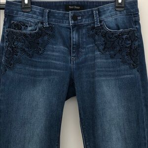 WHBM Blue Jeans with Embroidery & Black Crystals